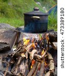 Small photo of Cooking place near alpine glacier stream Switzerland, Unterstock, Urbachtal