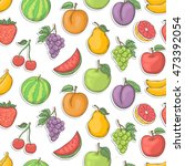 fruit sticker seamless... | Shutterstock . vector #473392054