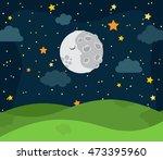 cute vector nighttime landscape ... | Shutterstock .eps vector #473395960