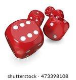 5 red dices. 3d render of 5... | Shutterstock . vector #473398108