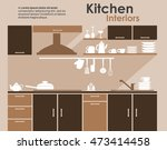kitchen interiors flat design... | Shutterstock . vector #473414458