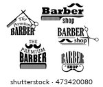 black retro barber shop icons ... | Shutterstock . vector #473420080