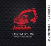 excavator design on dark... | Shutterstock .eps vector #473450584