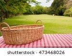 empty wicker basket on the... | Shutterstock . vector #473468026