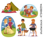family picnicking summer happy... | Shutterstock .eps vector #473488594