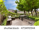 backyard cozy patio area with... | Shutterstock . vector #473493544