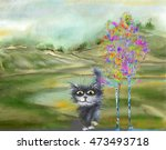 Black Cat And Colorful Birch I...