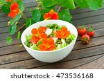 White Salad Bowl With Orange...