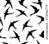 swallow pattern   vector... | Shutterstock .eps vector #473546779