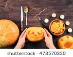 top view of women with apron... | Shutterstock . vector #473570320