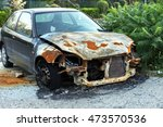 the remains of burned out car... | Shutterstock . vector #473570536