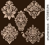 vector set of damask ornamental ... | Shutterstock .eps vector #473585194