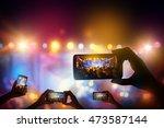 silhouette of hands using... | Shutterstock . vector #473587144