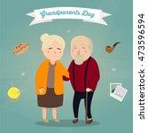 hand drawn cartoon grandparents | Shutterstock .eps vector #473596594