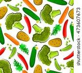 seamless organic vegetables... | Shutterstock .eps vector #473607673