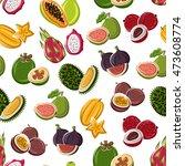exotic dessert fruits... | Shutterstock .eps vector #473608774