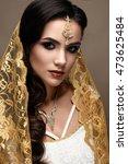 beautiful girl in indian style... | Shutterstock . vector #473625484