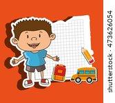kid back to school on notebook... | Shutterstock .eps vector #473626054