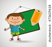 kid with chalkboard and pencil  ... | Shutterstock .eps vector #473629618