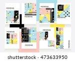 modern contemporary memphis... | Shutterstock .eps vector #473633950