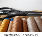 spools brown thread with... | Shutterstock . vector #473634244