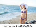 pretty woman in big white hat... | Shutterstock . vector #473642824