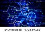 blue hexagon abstract cyber...