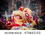 Lion Dance And Confetti During...