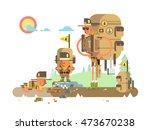 group scout cartoon | Shutterstock .eps vector #473670238