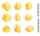 vector set of golden ore or...