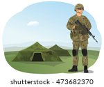 soldier in uniform  ready to... | Shutterstock .eps vector #473682370