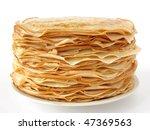 homemade pancakes pile on plate | Shutterstock . vector #47369563