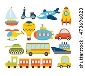 set of cartoon transport.... | Shutterstock .eps vector #473696023