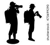 silhouette of   girl taking... | Shutterstock .eps vector #473699290