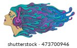 psychedelic acid trance dj girl ... | Shutterstock .eps vector #473700946