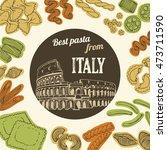 italian pasta food background ... | Shutterstock . vector #473711590