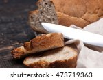 rustic bread on wood table.... | Shutterstock . vector #473719363