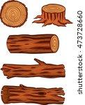 wooden log collection set | Shutterstock .eps vector #473728660