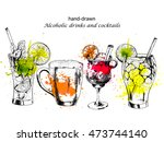 vector set of ink drawn alcohol ... | Shutterstock .eps vector #473744140