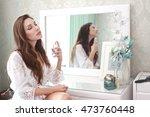 focus on hand with parfume half ... | Shutterstock . vector #473760448