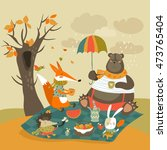 animals at picnic in autumnal... | Shutterstock .eps vector #473765404
