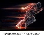 fast running man 3d of splines... | Shutterstock . vector #473769550