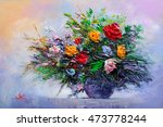 oil painting a bouquet of... | Shutterstock . vector #473778244