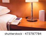 lamp on the table of hotel room | Shutterstock . vector #473787784