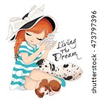 cute girl vector design. living ... | Shutterstock .eps vector #473797396