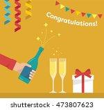 men's hand is pours a bottle of ... | Shutterstock .eps vector #473807623