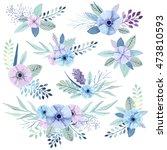 vector flower bouquets... | Shutterstock .eps vector #473810593