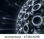black sphere of audio speakers... | Shutterstock . vector #473814298