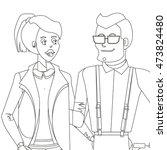 line vector creative character... | Shutterstock .eps vector #473824480