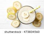 Glass Of Banana Smoothie On...